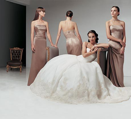 Bridesmaids, Bridesmaids Dresses, Wedding Dresses, Fashion, brown, dress, Strapless, Strapless Wedding Dresses, Amsale