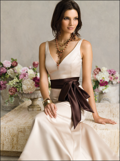 Wedding Dresses, Fashion, brown, dress, Jim hjelm, Sash, V-neck, V-neck Wedding Dresses