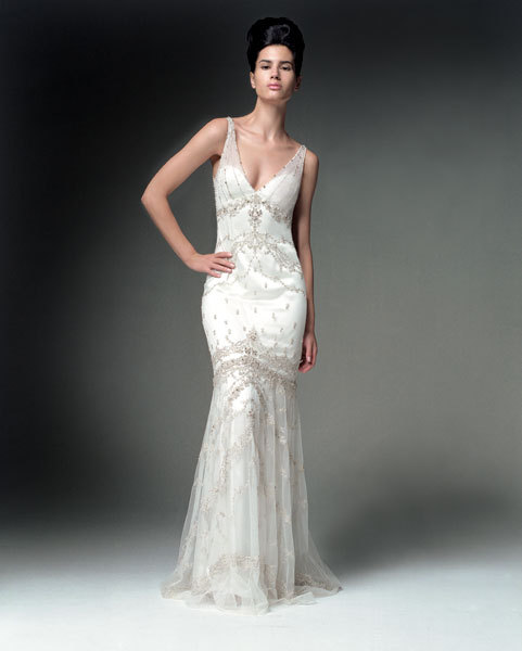 dress, V-neck, Beading, Kenneth pool, Sheath, Fashion, Wedding Dresses, V-neck Wedding Dresses, Beaded Wedding Dresses, Sheath Wedding Dresses