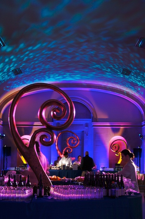 Reception, Flowers & Decor, purple, blue, Lighting, Got light