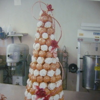 Cakes, red, brown, cake, Croquembouche