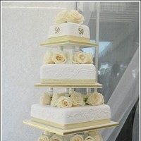 Cakes, white, gold, cake, Sweet traders