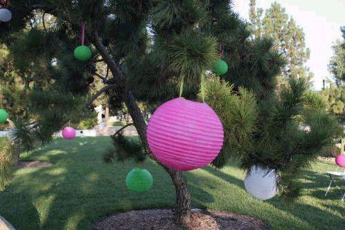 pink, green, Lanterns