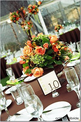 Reception, Flowers & Decor, orange, brown, Flowers