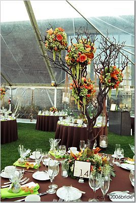 orange, brown, Centerpieces, Fall Wedding Flowers & Decor