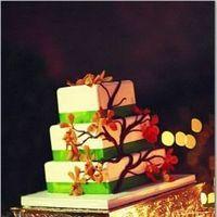 Reception, Flowers & Decor, Cakes, orange, green, cake