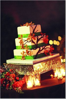 Reception, Flowers & Decor, Cakes, orange, green, cake