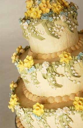 Cakes, yellow, cake, Lily of the valley, The cake lady