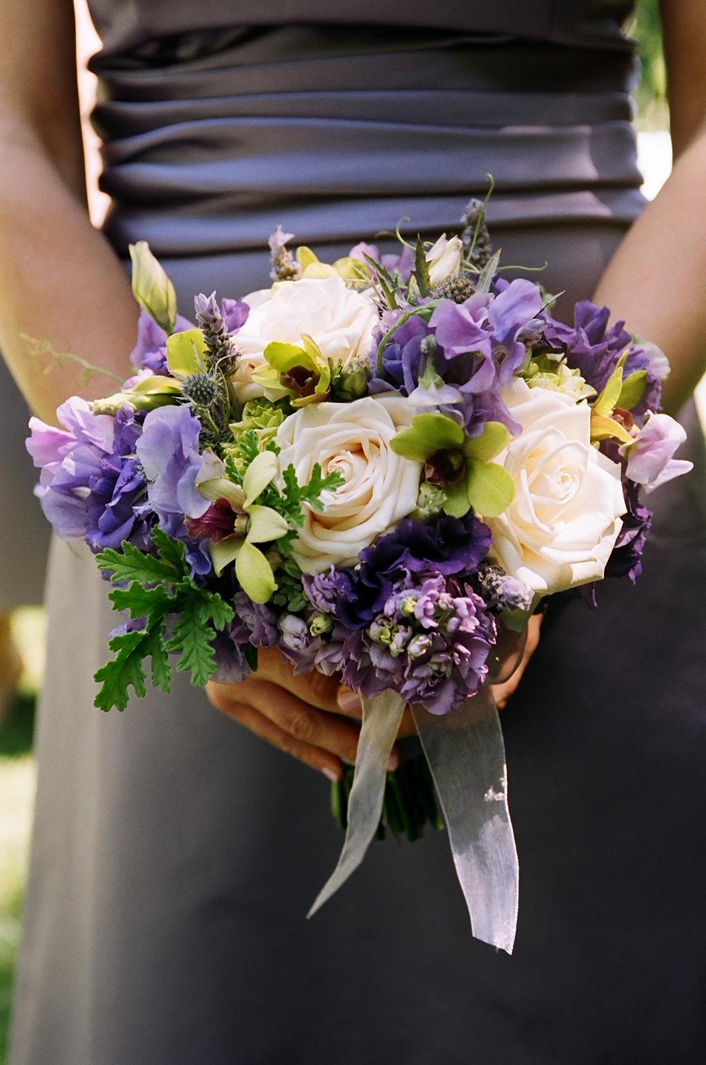 purple, Bridesmaid Bouquets, Vineyard Wedding Flowers & Decor