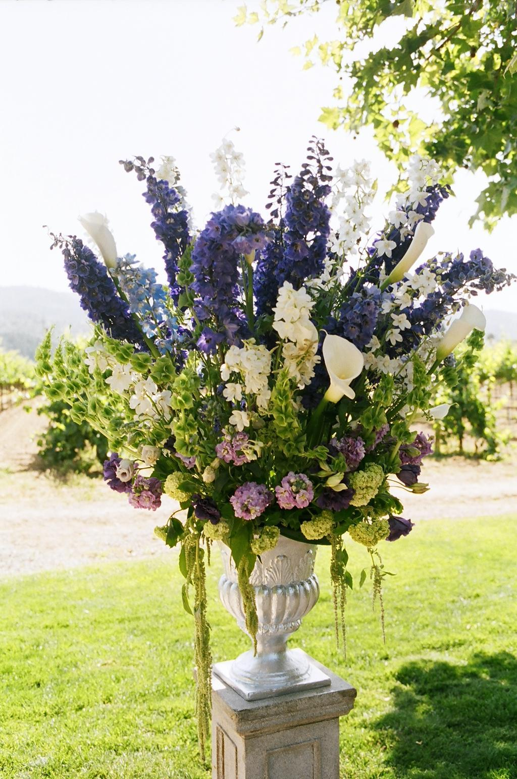 purple, green, Ceremony Flowers, Vineyard Wedding Flowers & Decor