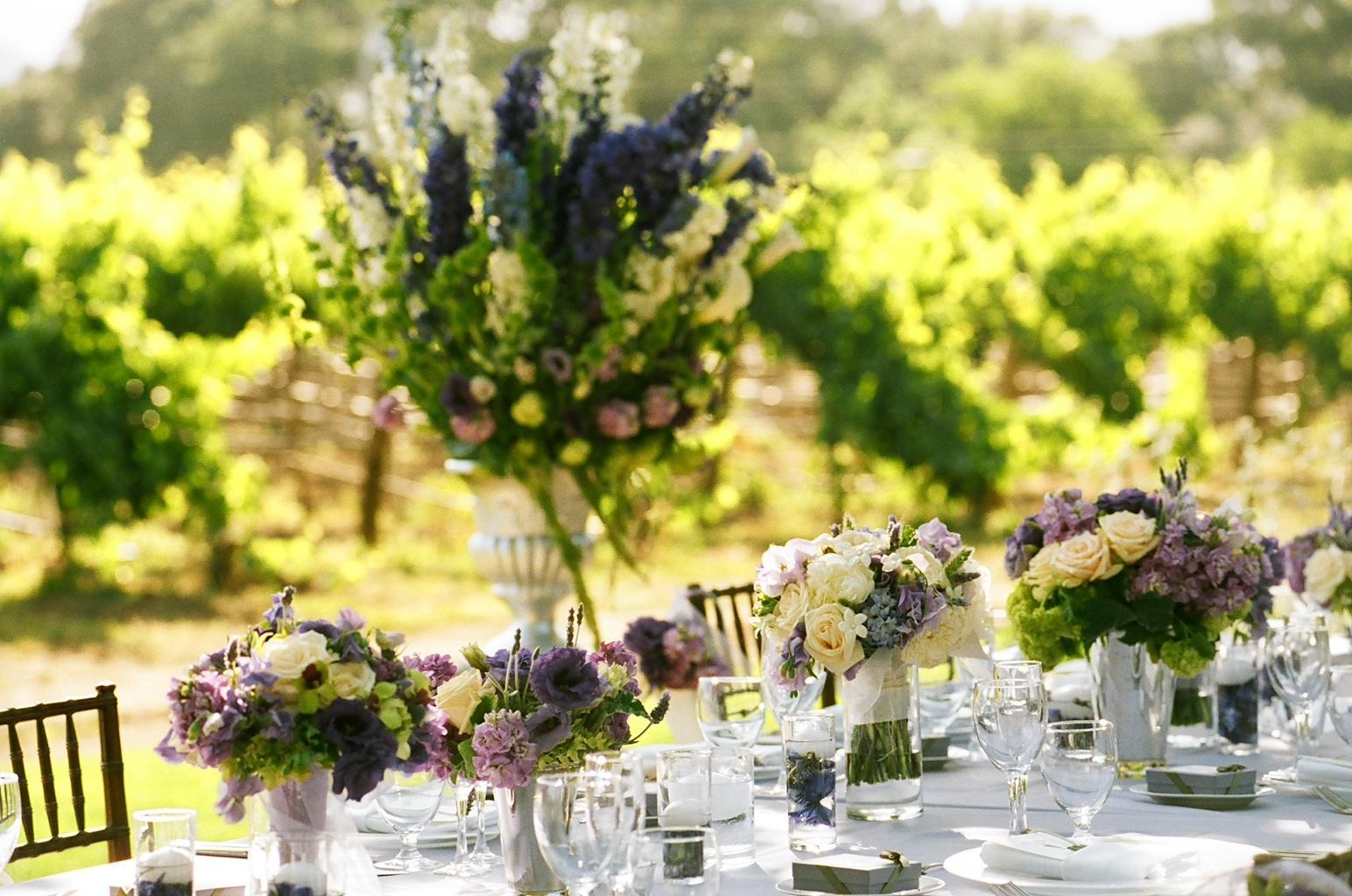 purple, Centerpieces, Spring Wedding Flowers & Decor, Vineyard Wedding Flowers & Decor