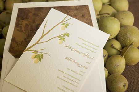 Stationery, green, invitation, Invitations, Pear, Twig fig