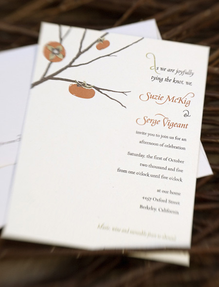 Stationery, orange, invitation, Invitations, Twig fig, Persimmon