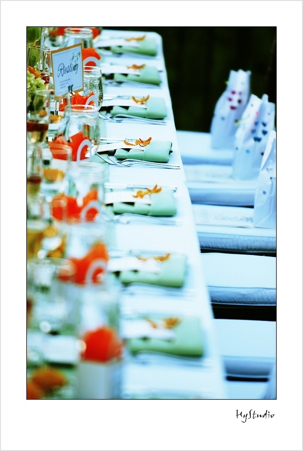 Reception, Flowers & Decor, orange, blue