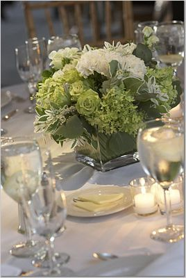 white, green, Centerpieces