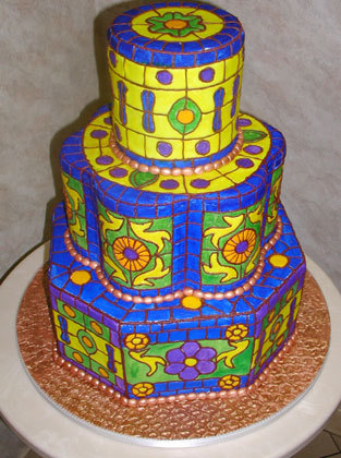 Cakes, yellow, blue, cake, Carloss bakery