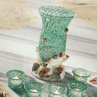 Reception, Flowers & Decor, Decor, Beach, Beach Wedding Flowers & Decor, Vase, Seashell, Aqua