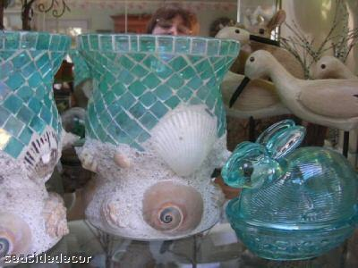 Reception, Flowers & Decor, blue, Beach, Beach Wedding Flowers & Decor, Seashell, Aqua, Glass, Mosaic