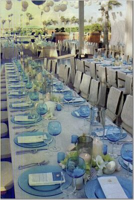 Reception, Flowers & Decor, Decor, blue, Beach, Beach Wedding Flowers & Decor, Aqua, Glass
