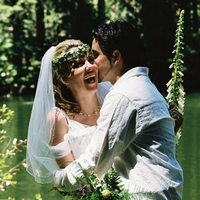 Bride, Groom, Fountain, Nestldown, Redwoods, Greenery