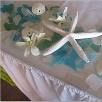 Reception, Flowers & Decor, blue, Beach, Beach Wedding Flowers & Decor, Seashell, Aqua, Glass
