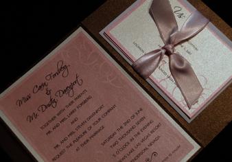 Stationery, pink, brown, Invitations, Serendipity design, Pocketfold