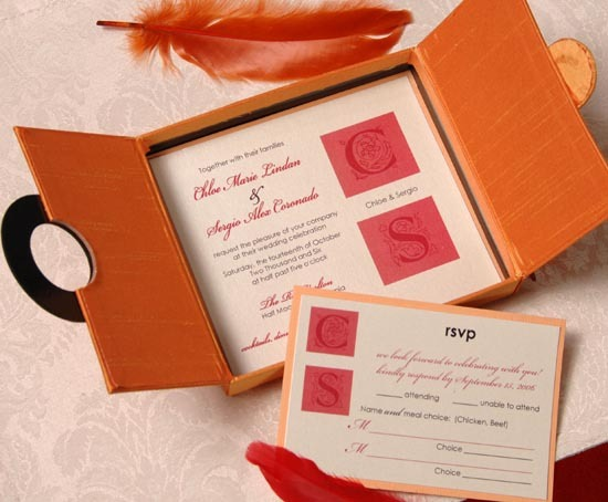 Stationery, orange, Glam Wedding Invitations, Invitations, Reply Cards, Marivics card company