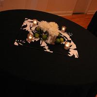 Reception, Flowers & Decor, Decor, green, Centerpieces, Modern, Flowers, Modern Wedding Flowers & Decor, Centerpiece, Black and white, La partie events