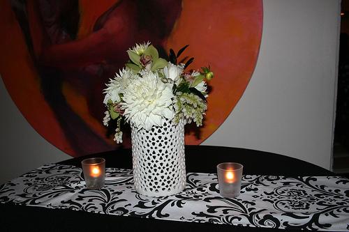 Reception, Flowers & Decor, Decor, Centerpieces, Modern, Flowers, Modern Wedding Flowers & Decor, Centerpiece, Black and white, La partie events