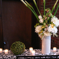 Reception, Flowers & Decor, Decor, green, Centerpieces, Modern, Flowers, Modern Wedding Flowers & Decor, Centerpiece, Black and white, Piano, La partie events