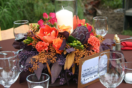 purple, Centerpieces, Fall Wedding Flowers & Decor, Vineyard Wedding Flowers & Decor