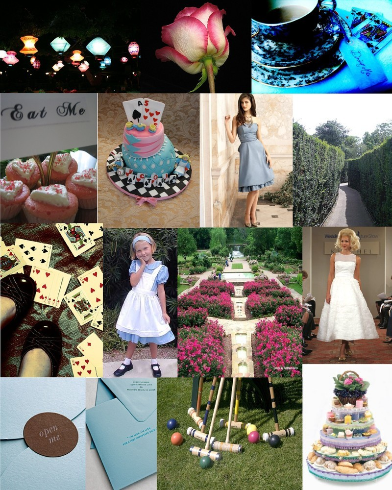 pink, blue, Inspiration board, Alice in wonderland