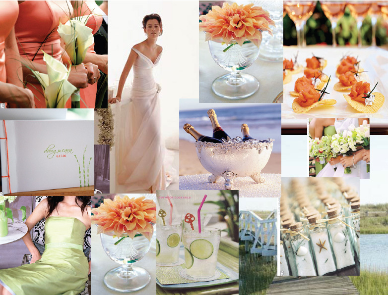 orange, green, Beach, Peach, Inspiration board