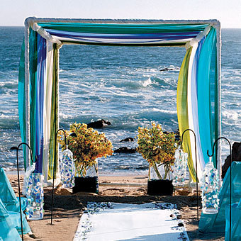 Flowers & Decor, yellow, blue, Ceremony Flowers, Aisle Decor, Beach Wedding Flowers & Decor