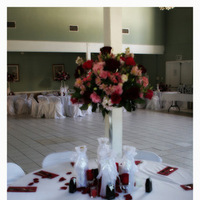 Reception, Flowers & Decor, pink, red, purple, Centerpieces, Tables & Seating, Flowers, Roses, Flower, Centerpiece, Petals, Tables