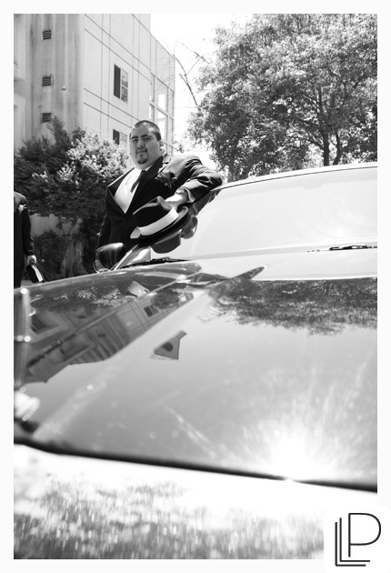 white, black, Groom, And, Limo, Bw