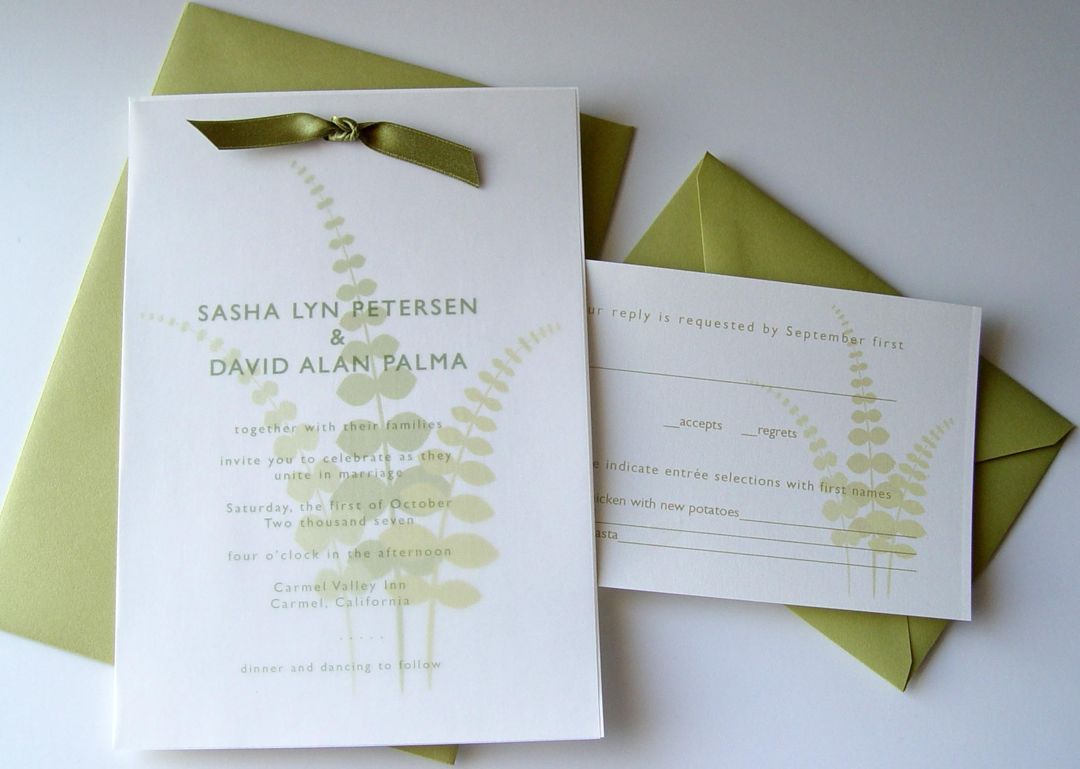 Stationery, green, Garden Wedding Invitations, Vineyard Wedding Invitations, Invitations, Crescent moon paper, Fern