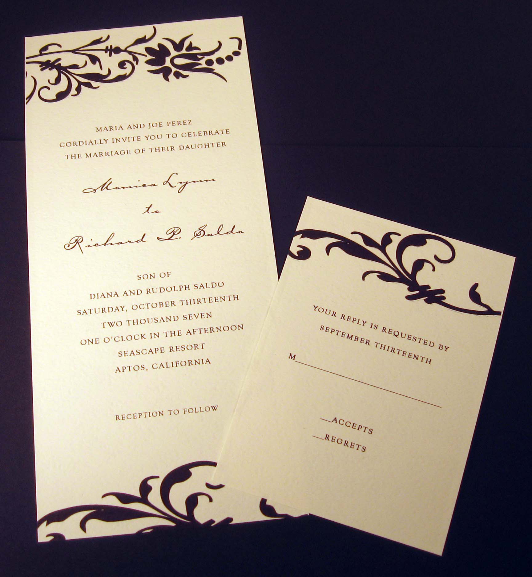 Stationery, ivory, black, Invitations, Crescent moon paper