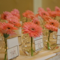 Reception, Flowers & Decor, Stationery, pink, brown, Place Cards, Flowers, Placecards