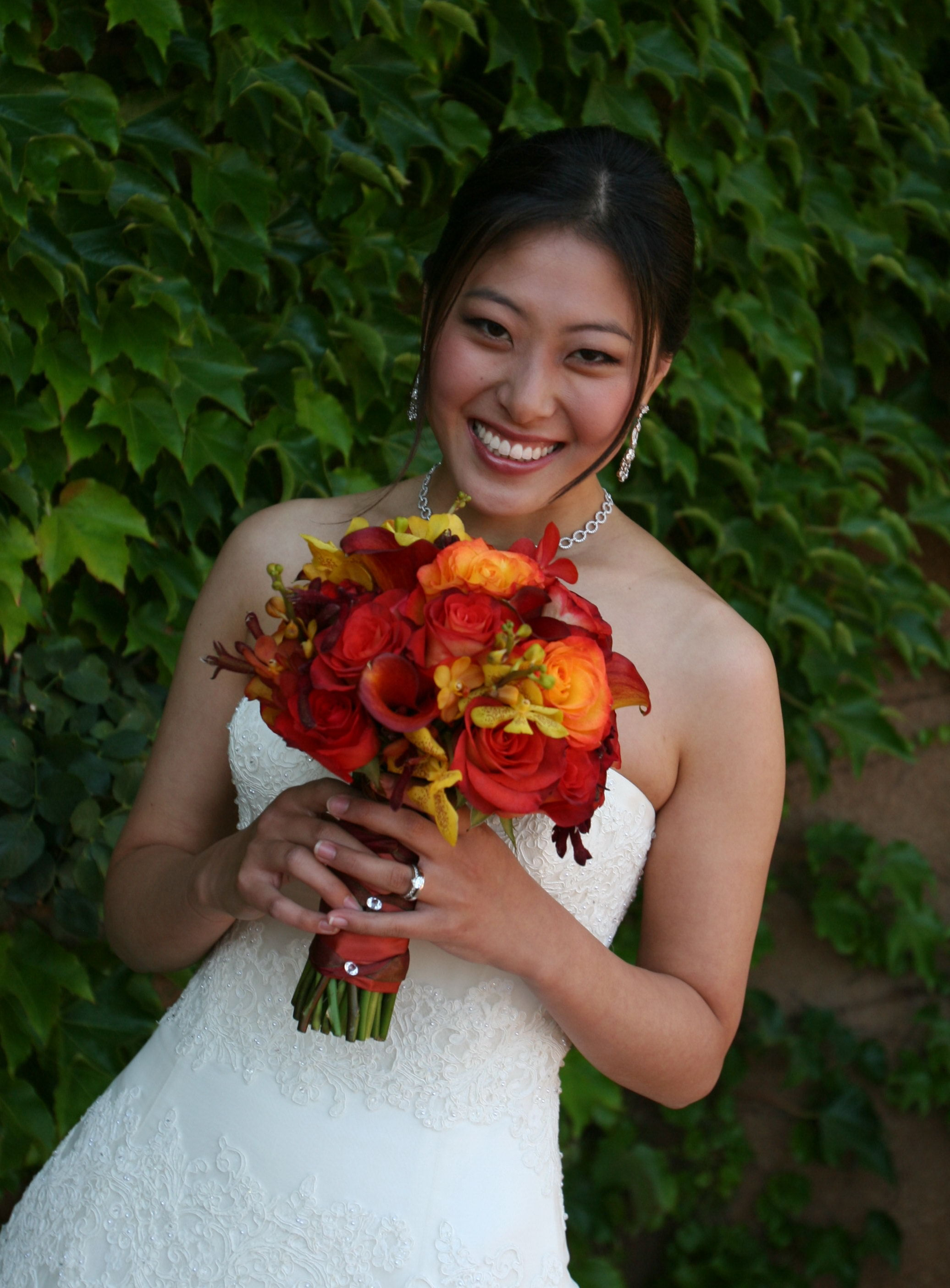 orange, red, Bouquet, Wine country flowers