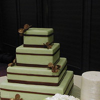 Cakes, green, brown, cake, Modern, Modern Wedding Cakes, Butterflies