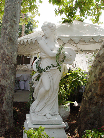 Reception, Flowers & Decor, white, Santa anita gardens, Statues