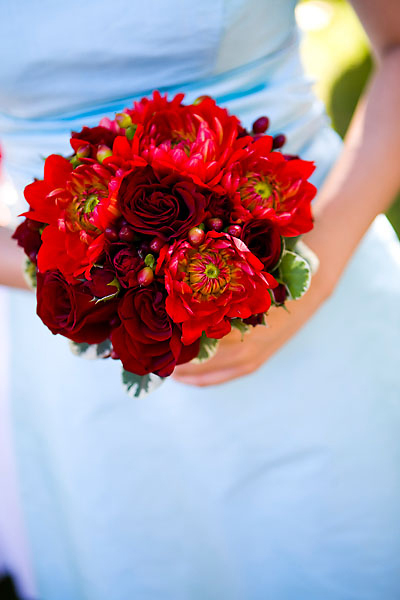 Bridesmaids, Bridesmaids Dresses, Fashion, Bouquet, Aqua and red