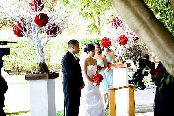 Ceremony, Flowers & Decor, Decor, Aqua and red, Manzanita, Pomanders, Altar arrangements