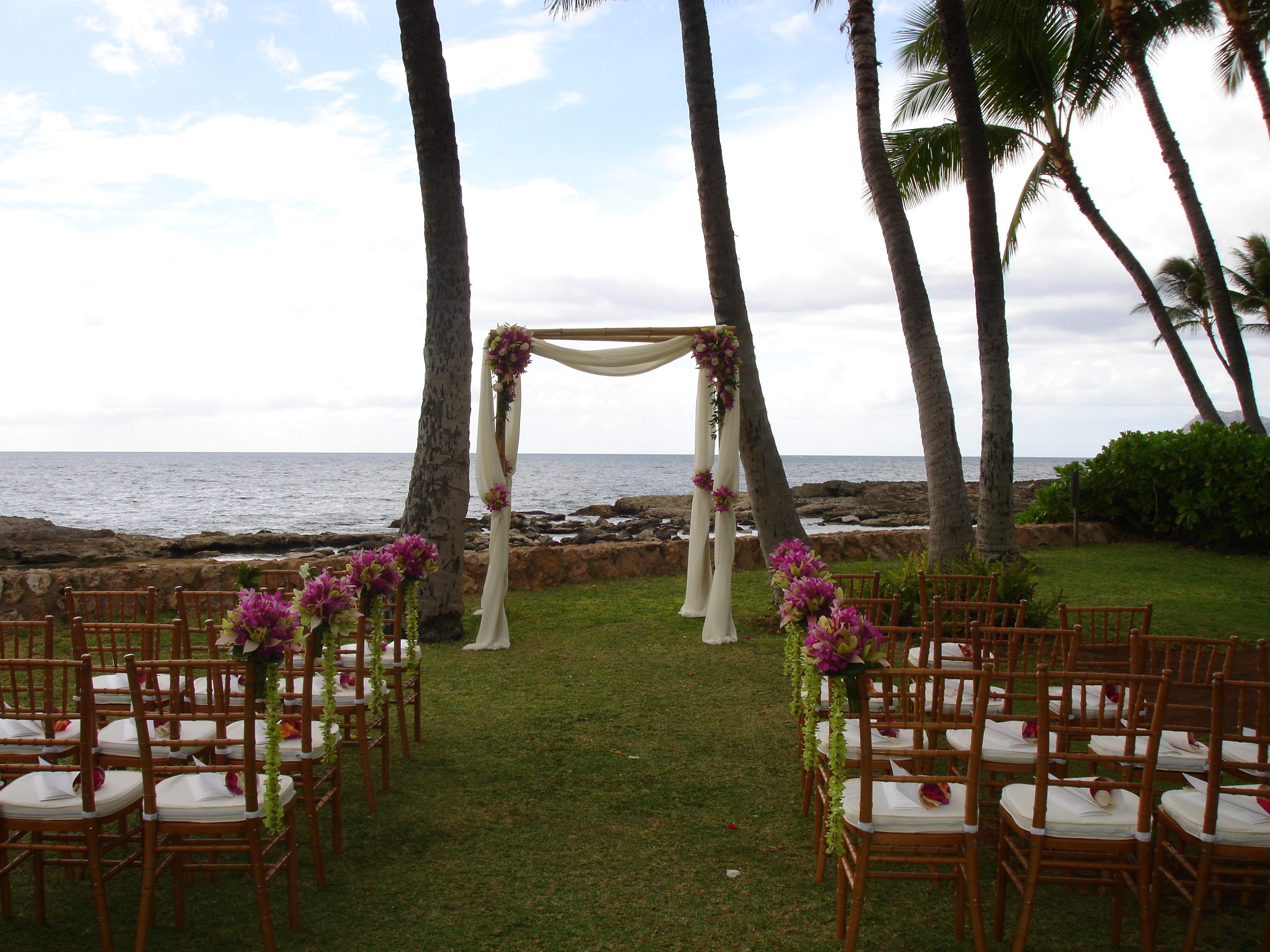 Ceremony, Flowers & Decor, Tables & Seating, Chiavari, Chairs, Florals, Lanikuhonua