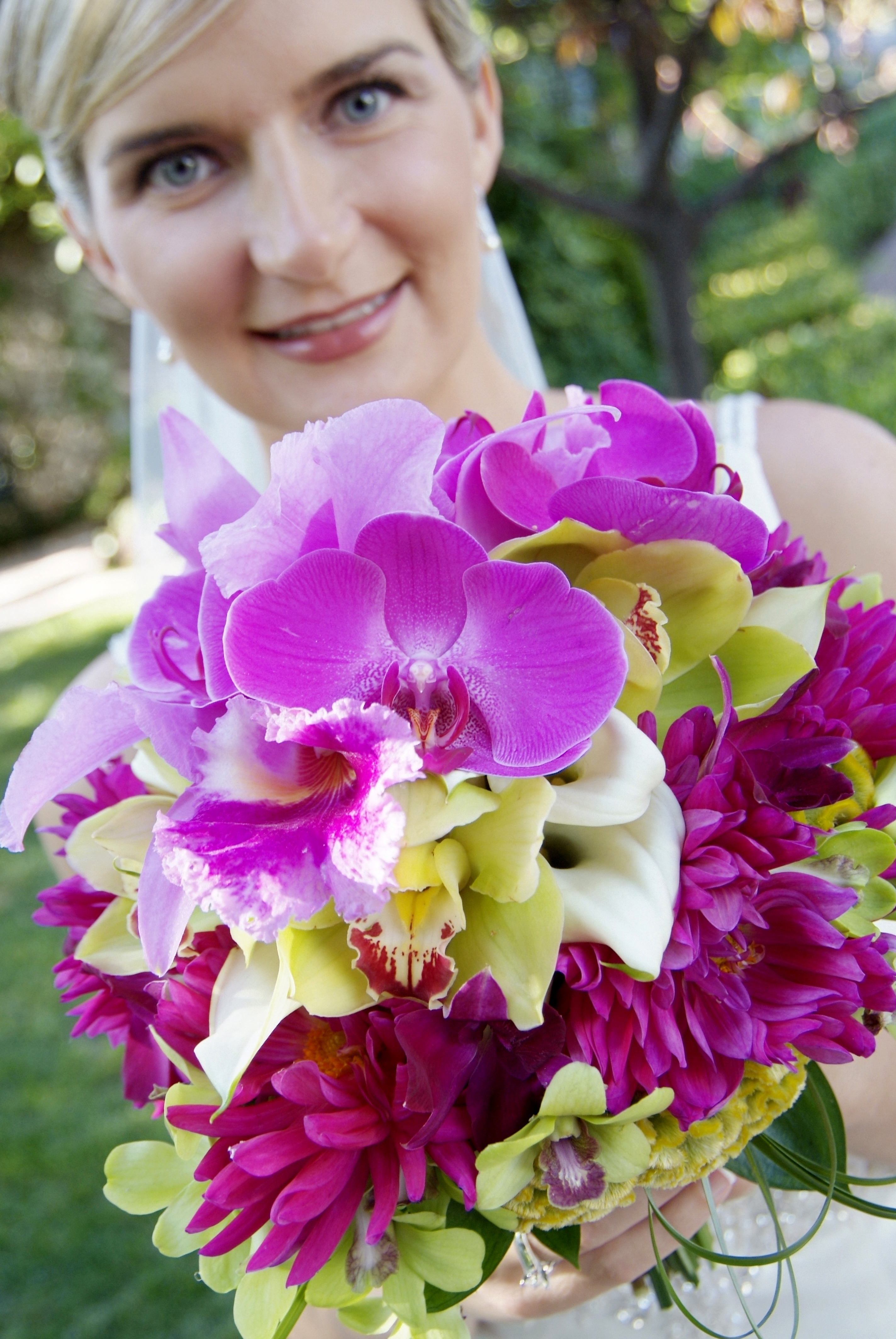 purple, green, Tropical, Orchids, Flourish, Callas, Dahlias