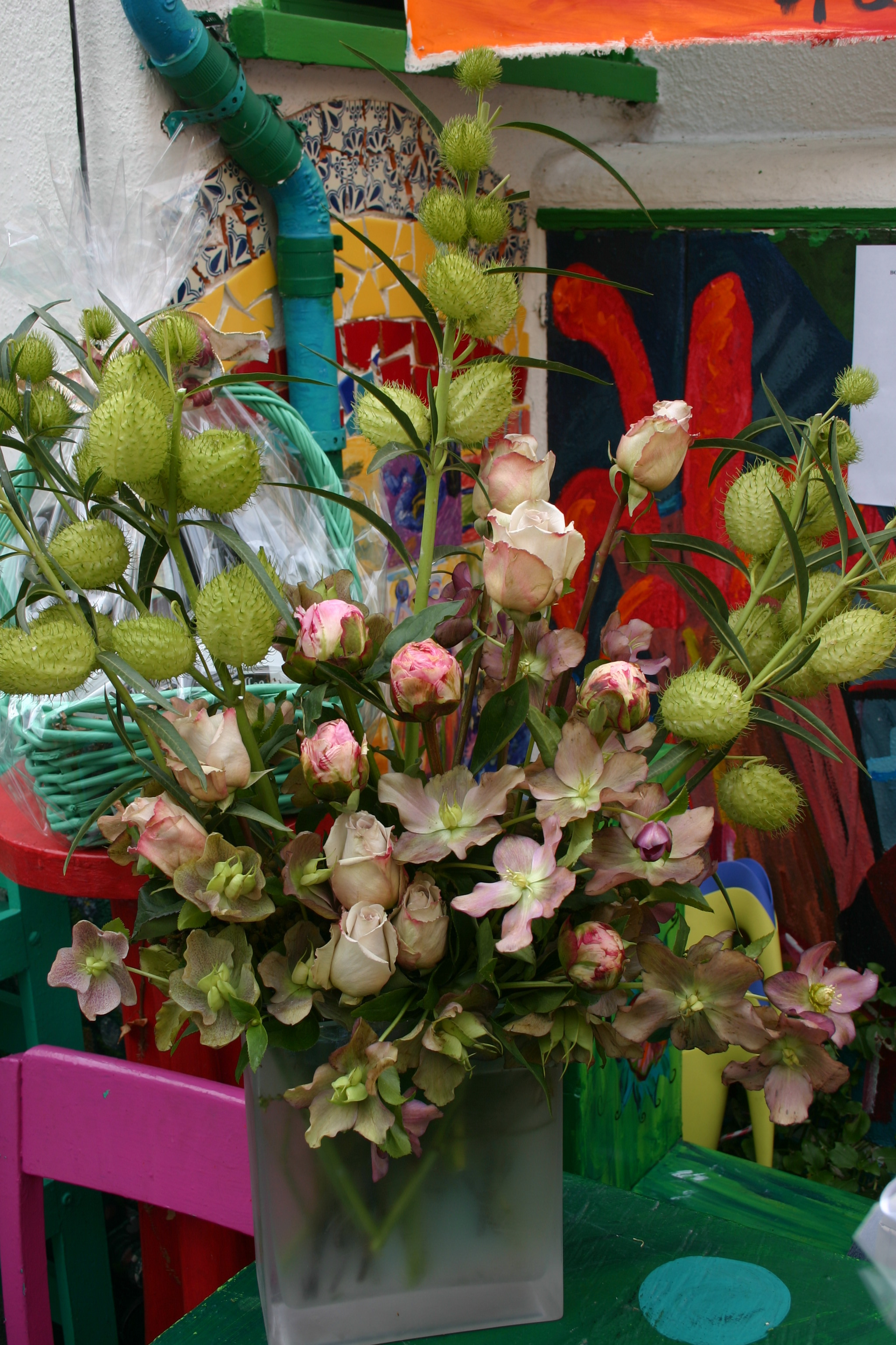 Flowers & Decor, pink, green, Flowers, Tropical, Asian, Style, Arrangement, La partie events, Glass, High, Frosted, Centerpeice