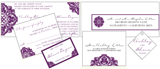 Stationery, purple, Invitations, Custom, Letterpress, Wine, Farfalla wedding, Victoriam