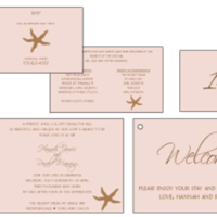 Stationery, pink, Invitations, Custom, Tropical, Starfish, Island, Letterpress, Farfalla wedding, Tan