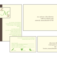 Stationery, green, brown, Invitations, Monogram, Custom, Letterpress, Farfalla wedding